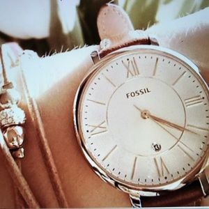 Accessories - Fossil Silver Dial Pink Leather Ladies Watch